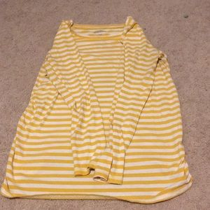 Yellow and White Striped Long Sleeve Shirt